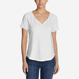 Women's Mountain Meadow Tie-Front Top - Solid in White
