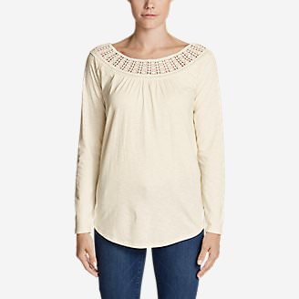Women's Lola Long-Sleeve Lace-Neck Top in White