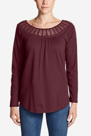 Women's Lola Long-Sleeve Lace-Neck Top in Red