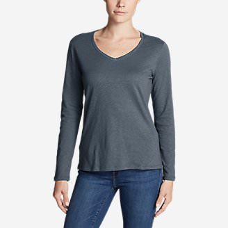 Women's Legend Wash Slub Long-Sleeve V-Neck in Gray