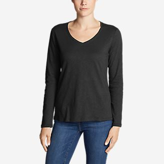 Women's Legend Wash Slub Long-Sleeve V-Neck in Black