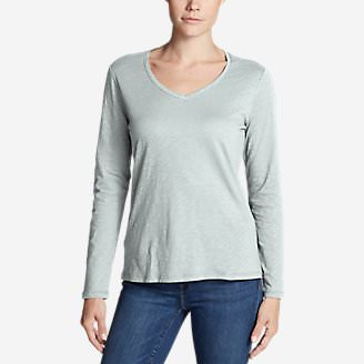 Women's Legend Wash Slub Long-Sleeve V-Neck in Green