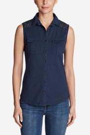 Women's Ravenna Sleeveless Button-Front Eyelet Shirt in Blue