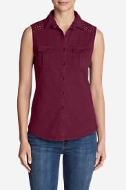 Women's Ravenna Sleeveless Button-Front Eyelet Shirt in Red