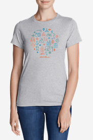 Women's Graphic T-Shirt - Pack Your Adventure in Gray