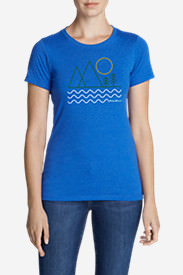 Women's Graphic T-Shirt - Linear Outdoors in Blue