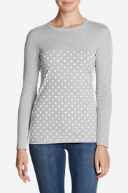 Women's Graphic Long-Sleeve T-Shirt - Polka Dots in Gray