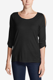 Women's Gate Check 3/4-Twist Sleeve Shirt in Black