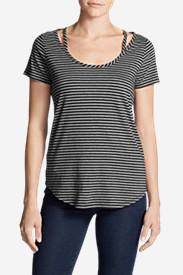 Women's Gate Check Short-Sleeve Scoop-Neck Top - Stripe in Black
