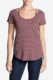 Women's Gate Check Short-Sleeve Scoop-Neck Top - Stripe in Red