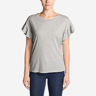 Women's Willow Short-Sleeve Ruffle Top in Gray