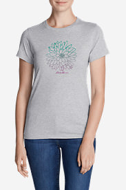 Women's Graphic T-Shirt - Ombré Flower in Gray