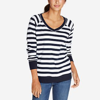Women's Legend Wash V-Neck Sweatshirt - Stripe in Blue