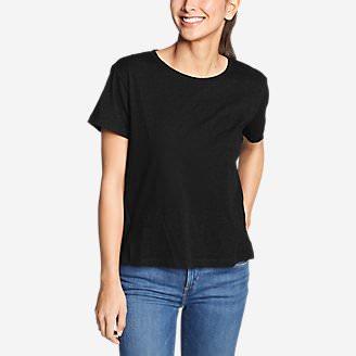 Women's Legend Wash Slub Short-Sleeve Easy Crew T-Shirt in Black