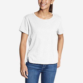 Women's Legend Wash Slub Short-Sleeve Easy Crew T-Shirt in White