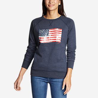 Women's Camp Fleece Pullover Crew - USA in Blue