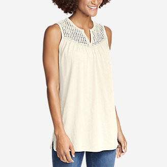 Women's Lola Eyelet Tank Top in White