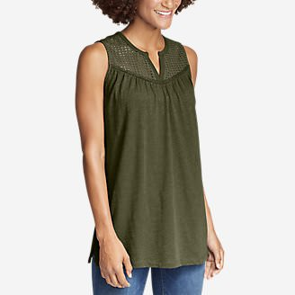 Women's Lola Eyelet Tank Top in Green