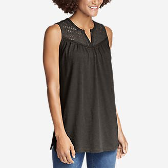 Women's Lola Eyelet Tank Top in Beige
