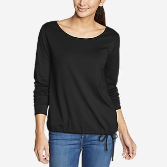 Women's Gate Check Long-Sleeve Drawstring Top in Black