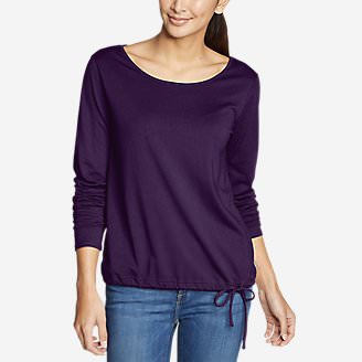 Women's Gate Check Long-Sleeve Drawstring Top in Purple
