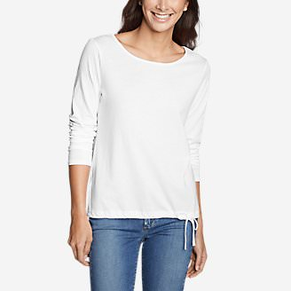 Women's Gate Check Long-Sleeve Drawstring Top in White