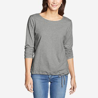Women's Gate Check Long-Sleeve Drawstring Top in Gray