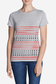 Women's Graphic T-Shirt - Stars & Stripes in Gray