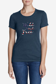 Women's Graphic T-Shirt - Wild and Free USA in Blue