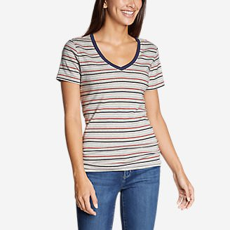 Women's Favorite Short-Sleeve V-Neck T-Shirt - Stripe in Gray