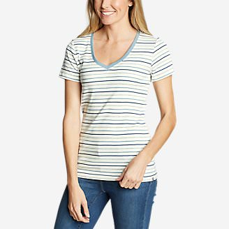 Women's Favorite Short-Sleeve V-Neck T-Shirt - Stripe in White