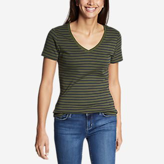 Women's Favorite Short-Sleeve V-Neck T-Shirt - Stripe in Green