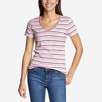 Women's Favorite Short-Sleeve V-Neck T-Shirt - Stripe in Pink
