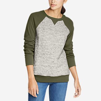 Women's Legend Wash Quilt Block Sweatshirt in Green