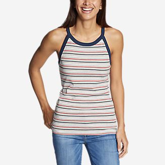 Women's Favorite Sleeveless Halter Top - Stripe in Gray