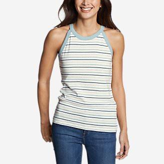 Women's Favorite Sleeveless Halter Top - Stripe in White