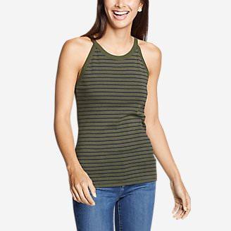 Women's Favorite Sleeveless Halter Top - Stripe in Green