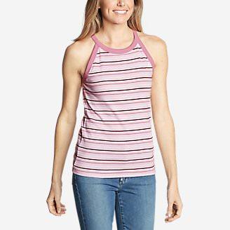 Women's Favorite Sleeveless Halter Top - Stripe in Pink