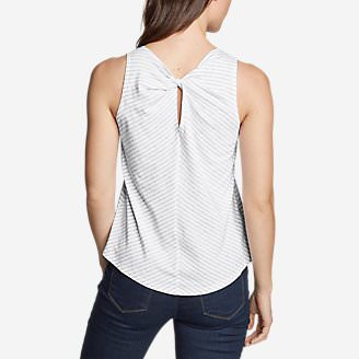 Women's Gate Check Twist-Back Tank Top - Stripe in Gray