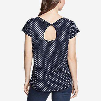 Women's Gate Check Twist-Back Short-Sleeve T-Shirt - Print in Blue