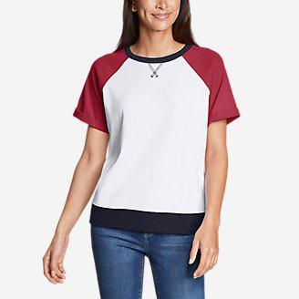 Women's Legend Wash Short-Sleeve Sweatshirt - Colorblock in White