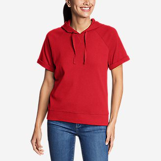 Women's Legend Wash Short-Sleeve Raglan Hoodie - Solid in Red