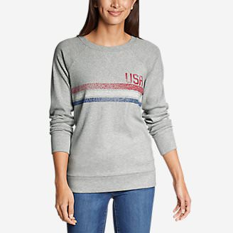 Women's Legend Wash Crew Sweatshirt - USA Stripe in Gray