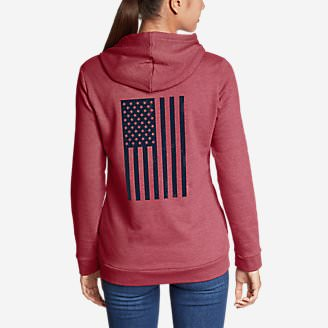 Women's Camp Fleece Full-Zip Hoodie - Flag in Red