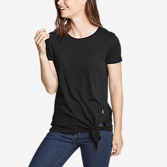 Women's Gate Check Short-Sleeve Side-Tie T-Shirt in Black