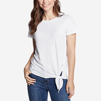 Women's Gate Check Short-Sleeve Side-Tie T-Shirt in White