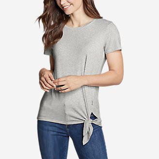 Women's Gate Check Short-Sleeve Side-Tie T-Shirt in Gray
