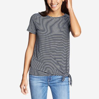 Women's Gate Check Short-Sleeve Side-Tie T-Shirt - Stripe in Blue