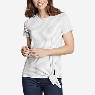 Women's Gate Check Short-Sleeve Side-Tie T-Shirt - Stripe in Gray