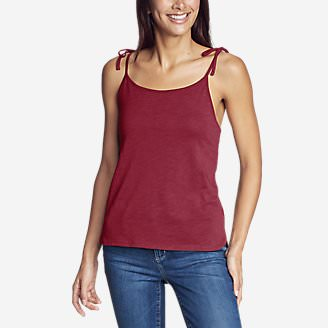 Women's Gate Check Tie-Strap Tank Top - Solid in Red